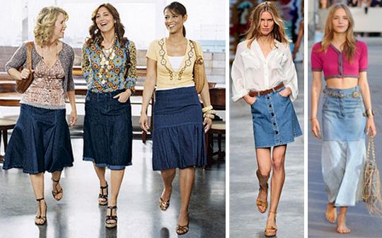 С чем одеть джинсовую юбку трапецию