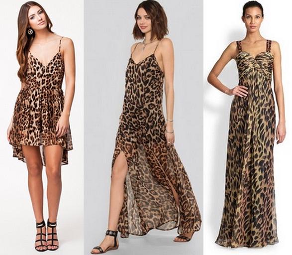 Помимо классического «леопарда», многие модельеры выпускают платья, которые имеют яркийпринт с характерными звериными пятнами. Черно-белая гамма, красная