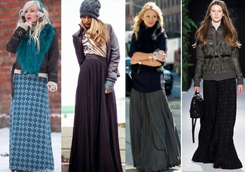 Длинные зимние юбки как носить
