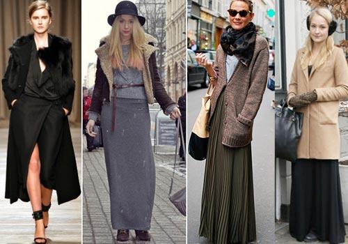 Что носить с длинными зимними юбками