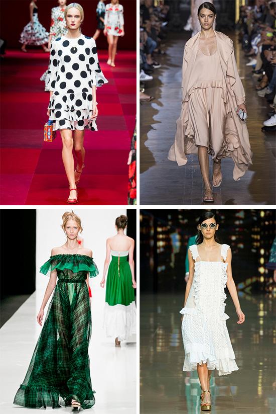 Платья с воланами и рюшами фото