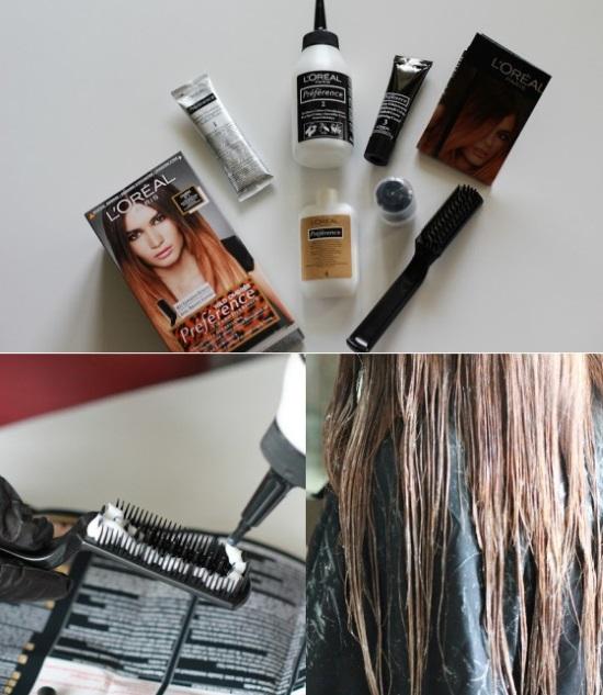 Технология окрашивания для темных волос с помощью набора Лореаль