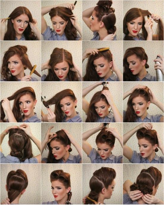 как сделать ретро прическу на средние волосы с локонами