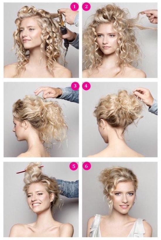Пучок с локонами на средние волосы