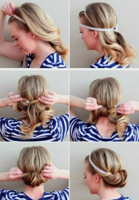 Прическа с повязкой и локонами на средние волосы