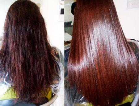 волосы до и после ламинирования