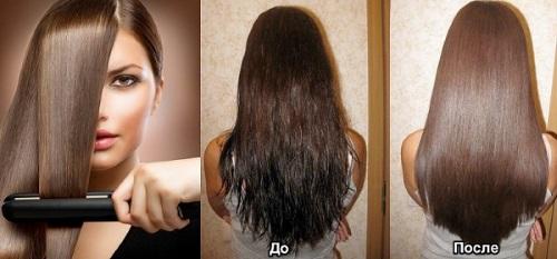 укладка длинны волос утюжком