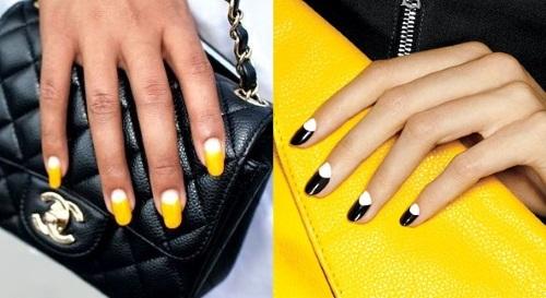 вариант дизайна ногтей с несколькими цветами