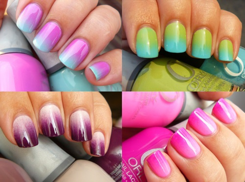Омбре на ногтях в два цвета