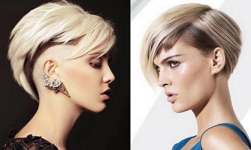 Женская креативная стрижка на коротких волосах ассиметрия короткие