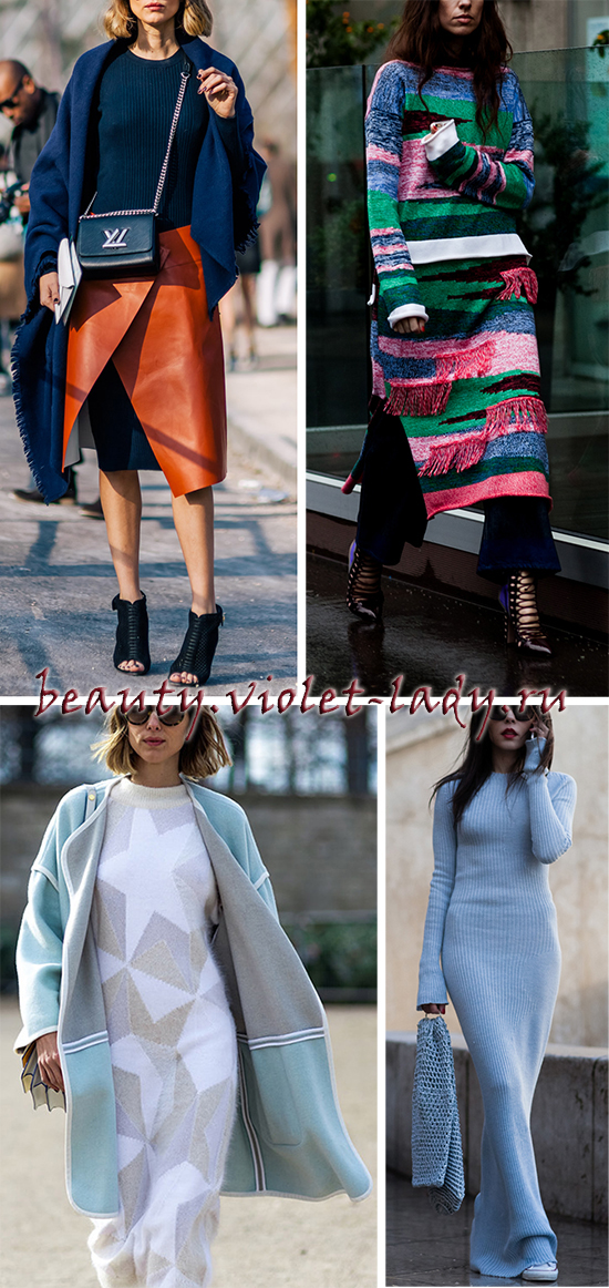 Эффектные модели платьев их теплого трикотажа
