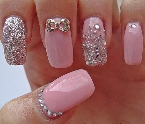 Как покрасить ногти с блестками