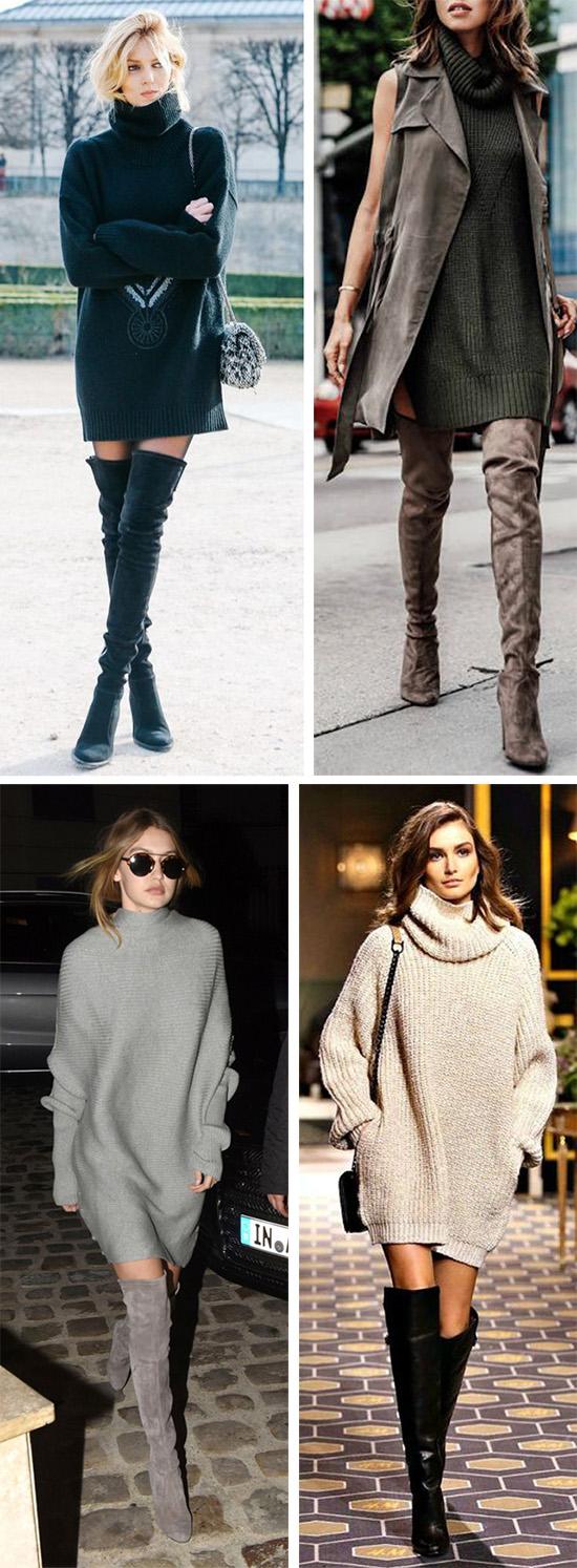 Платье и ботфорты - эффектное сочетание