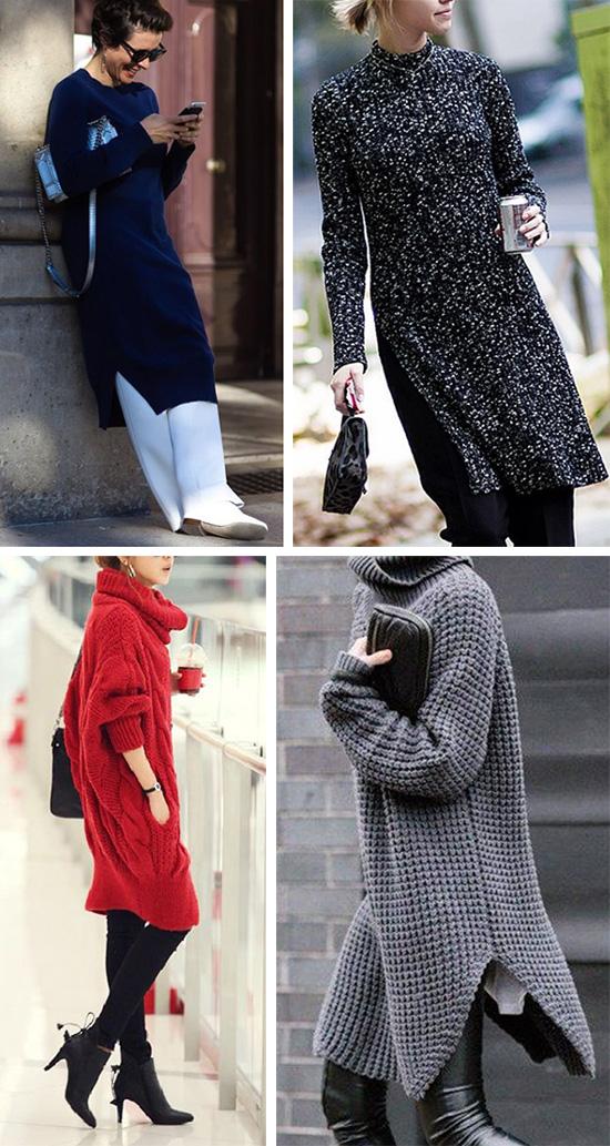 Платье свитер в сочетании с брюками и леггинсами