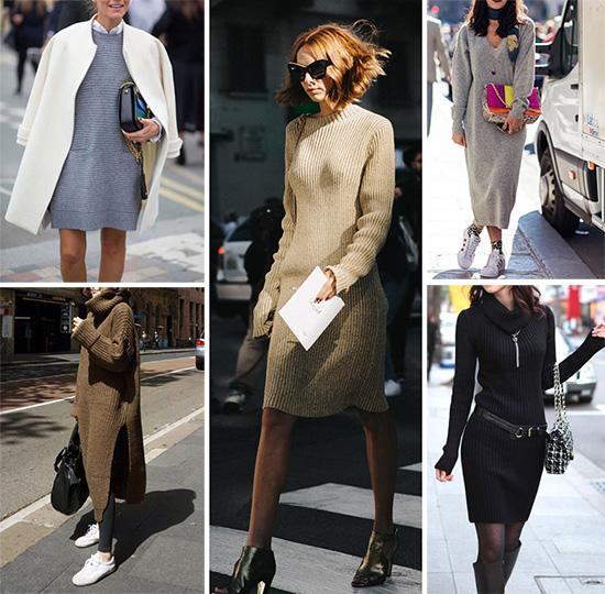 Стильные образы с трикотажным платьем-свитером