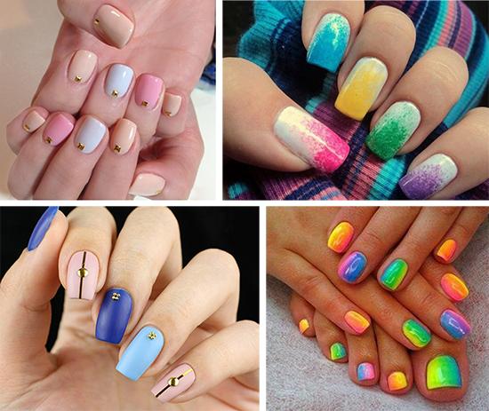 Маникюр с разными цветами на ногтях: фото, идеи, цветовые решения